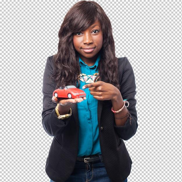 Legal mulher negra com carro vermelho Psd Premium