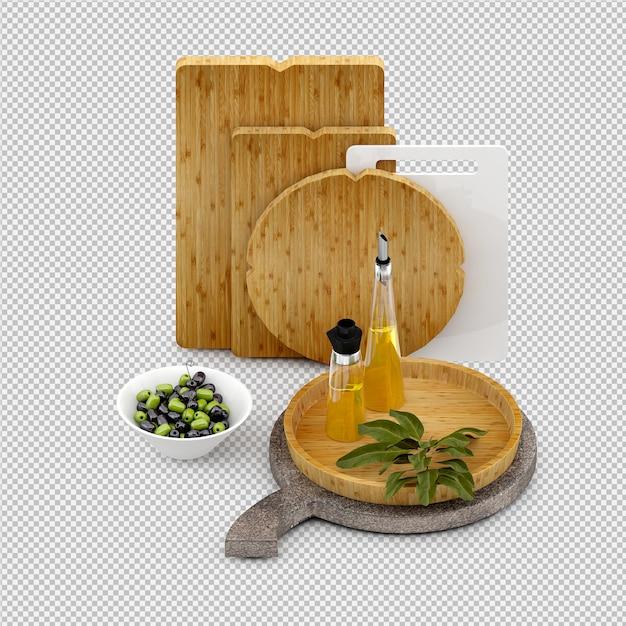 Legumes isométricos 3d isolado render Psd Premium