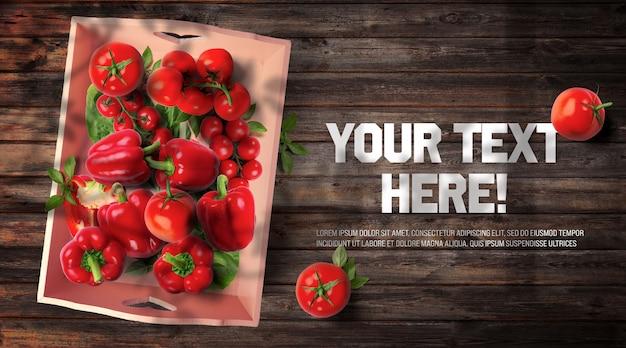 Legumes orgânicos vermelhos em recipiente vintage e madeira escura backgr Psd Premium