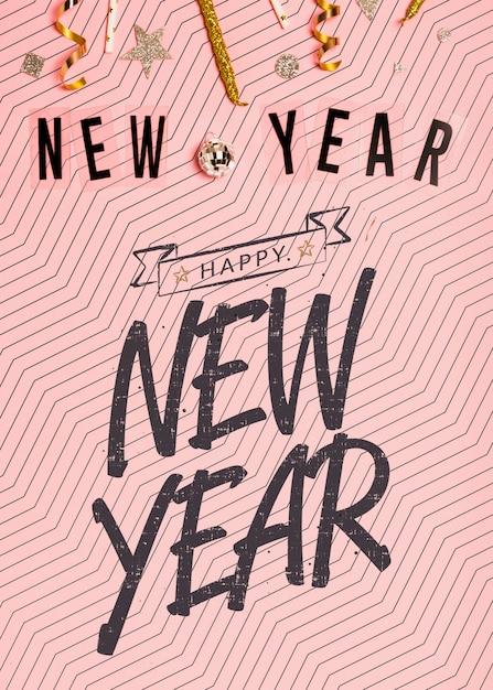 Letras minimalistas de ano novo em fundo rosa Psd grátis
