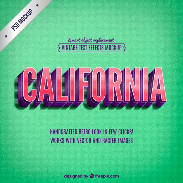 Lettering california retro Psd grátis