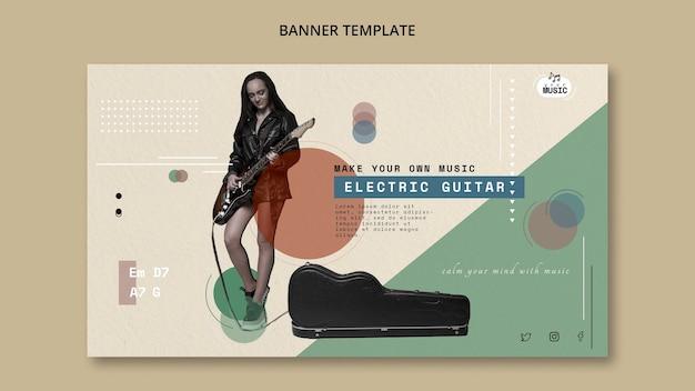 Lições de guitarra elétrica estilo de banner Psd grátis
