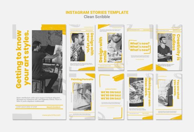 Limpar histórias do instagram de rabiscos Psd Premium