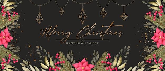 Lindo banner de natal com natureza e enfeites dourados Psd grátis
