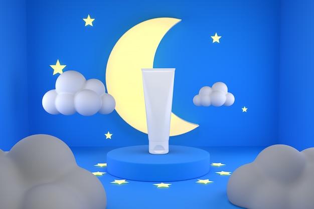 Loção cosmética com noite de lua poduim Psd Premium