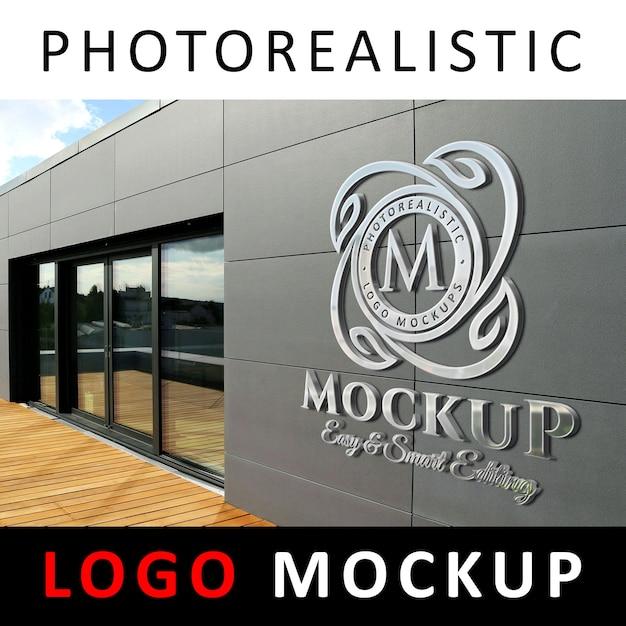 Logo maquete - 3d metallic chrome logo signage na parede da fachada da empresa 1 Psd Premium