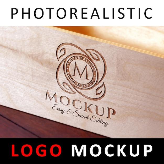 Logo mock up - gravado logo laser corte de madeira Psd Premium