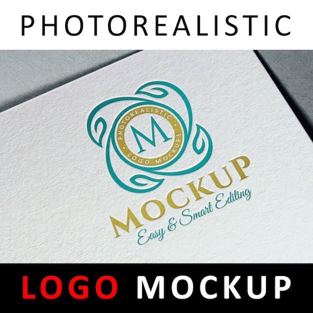 Logo mock up - logotipo colorido de tipografia impresso em papel branco Psd Premium