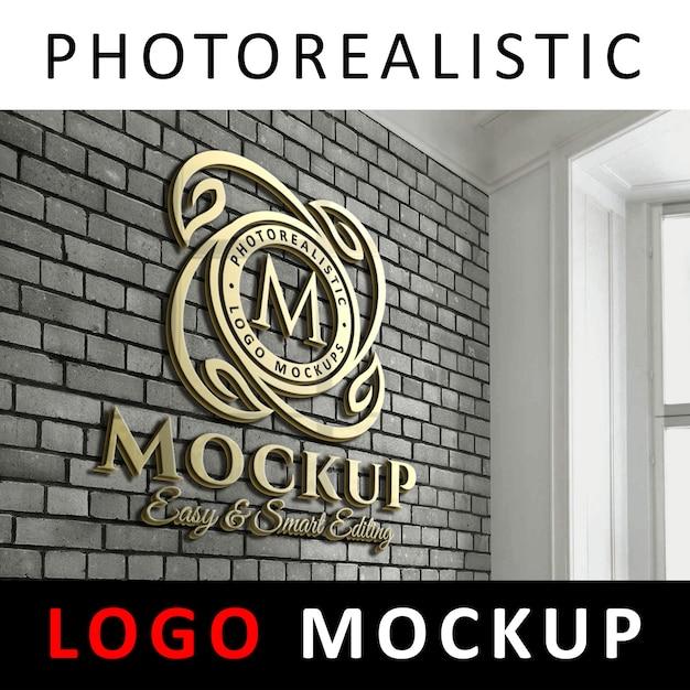 Logo mockup - 3d golden logo signage na parede de tijolo de escritório Psd Premium