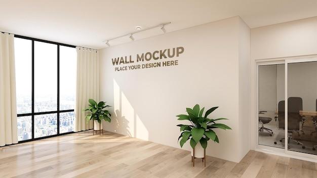 Logotipo 3d ou maquete de texto sinal realista parede do escritório Psd Premium