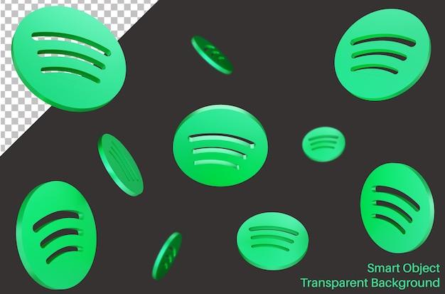 Logotipo da mídia social caindo do spotify em estilo 3d Psd Premium