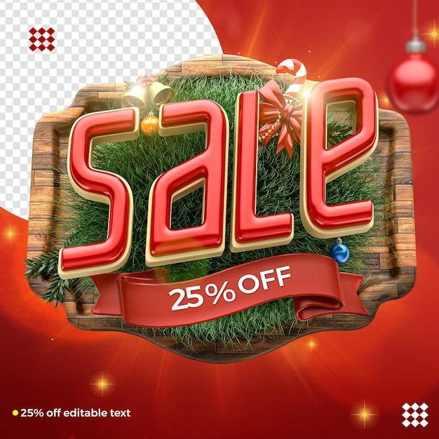 Logotipo de venda de natal 3d para composição com decoração Psd Premium