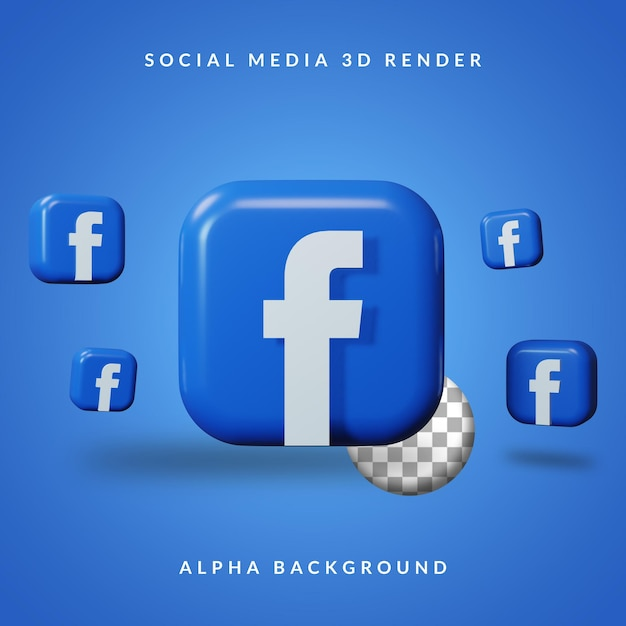 Logotipo do aplicativo 3d do facebook com fundo alfa Psd Premium