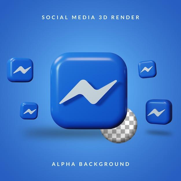 Logotipo do aplicativo 3d messenger com fundo alfa Psd Premium
