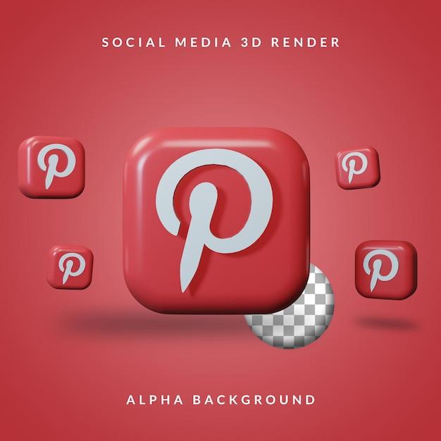 Logotipo do aplicativo 3d pinterest com fundo alfa Psd Premium