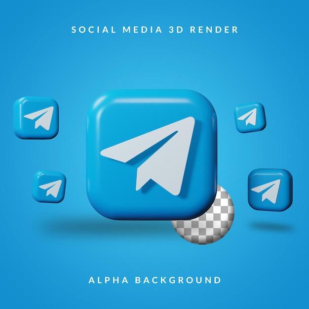 Logotipo do aplicativo 3d telegram com fundo alfa Psd Premium