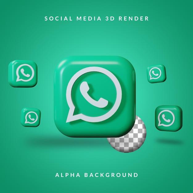 Logotipo do aplicativo 3d whatsapp com fundo alfa Psd Premium