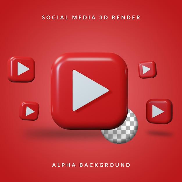 Logotipo do aplicativo youtube 3d com fundo alfa Psd Premium