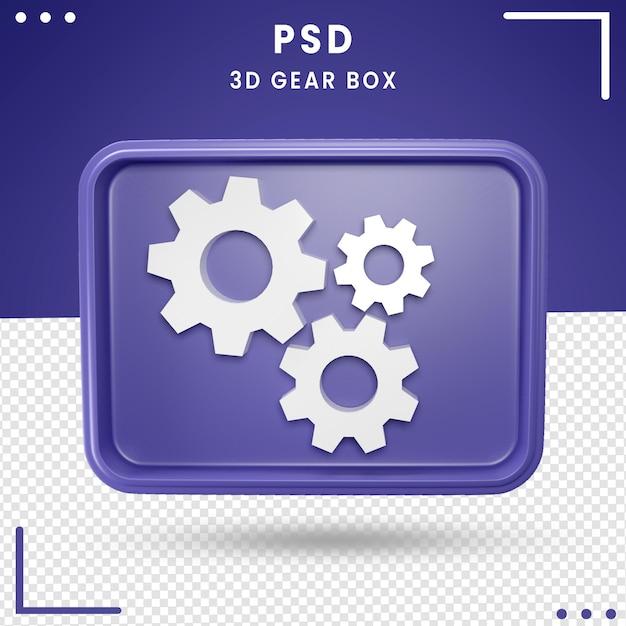 Logotipo girado 3d da caixa de engrenagens Psd Premium