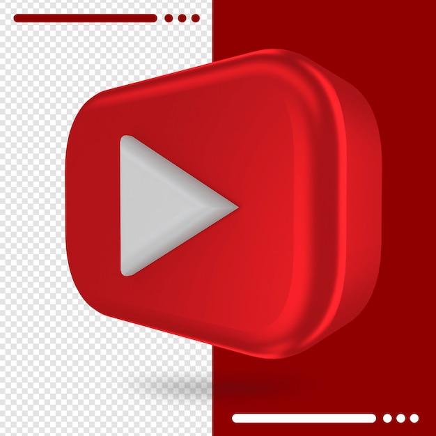 Logotipo girado em 3d do youtube em renderização em 3d Psd Premium