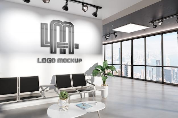 Logotipo na parede da sala de espera do escritório maquete Psd Premium