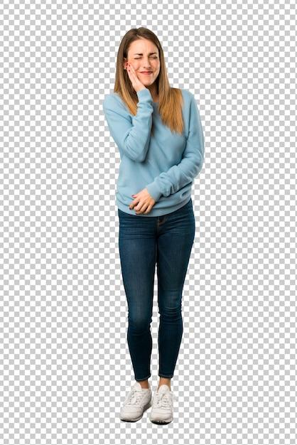 Loiro, mulher, com, camisa azul, com, toothache Psd Premium