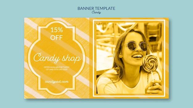 Loja de doces e oferece modelo de banner Psd grátis