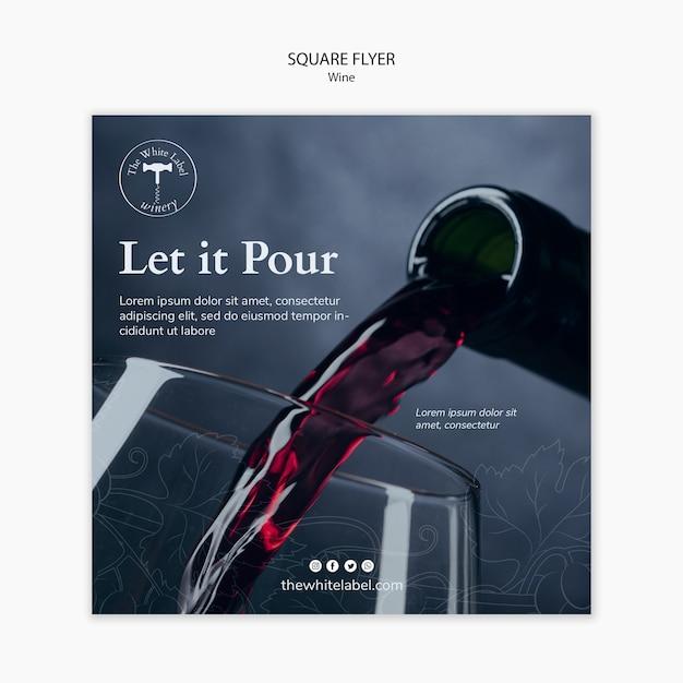 Loja de vinho de modelo de panfleto quadrado Psd grátis