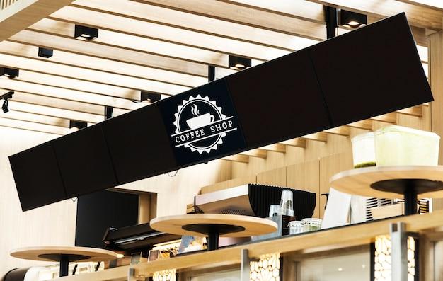 Longo sinal de maquete para o menu em um café Psd grátis