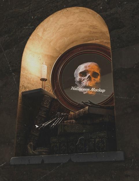 Low view halloween frame redondo com caveira e pilha de livros Psd grátis