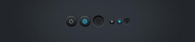 Luminosa e desligar botões Psd grátis