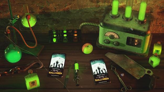 Luz de neon verde de alto ângulo com smartphones na mesa de madeira Psd grátis
