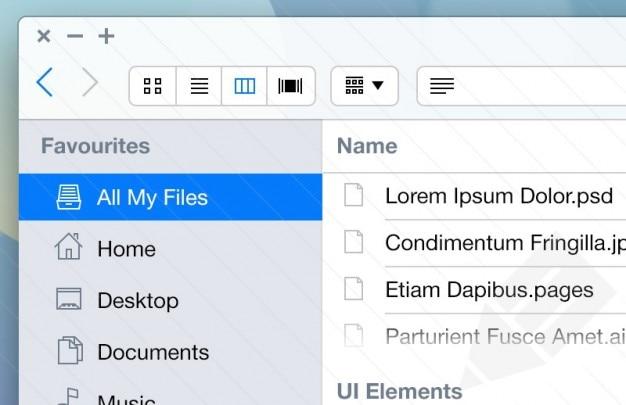 Mac kit aplicativo ui para ios7 Psd grátis