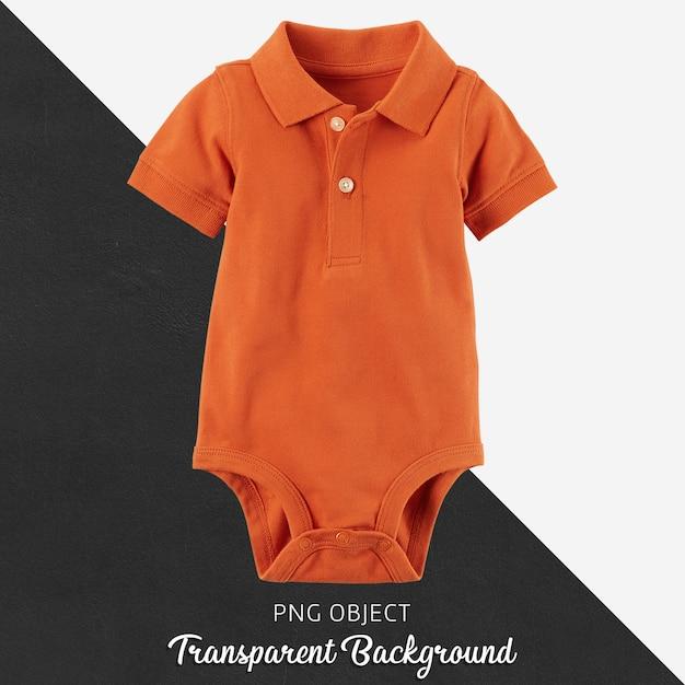Macacão laranja polo para bebê ou crianças em fundo transparente Psd Premium