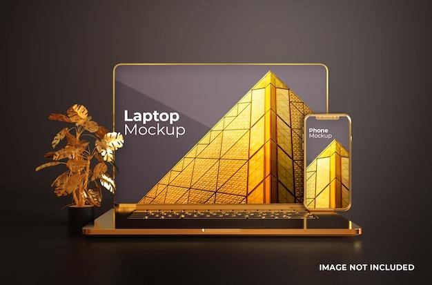 Macbook gold com maquete de smartphone vista frontal Psd Premium