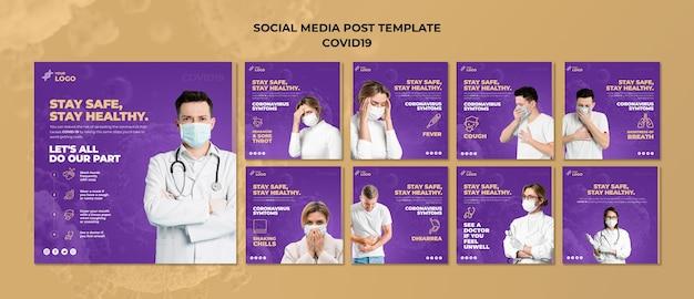 Mantenha-se seguro e saudável covid-19 post de mídia social Psd grátis