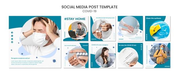 Mantenha-se seguro em ambientes fechados, pós-19 mídias sociais Psd grátis