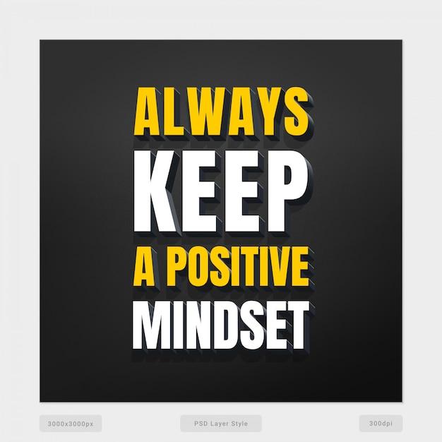 Mantenha sempre uma cotação de atitude positiva Psd Premium
