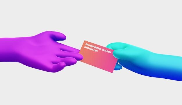 Mão de desenho 3d com maquete de cartão de visita Psd Premium