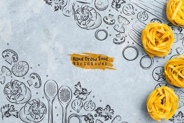 Mão desenhada comida fundo com macarrão Psd grátis