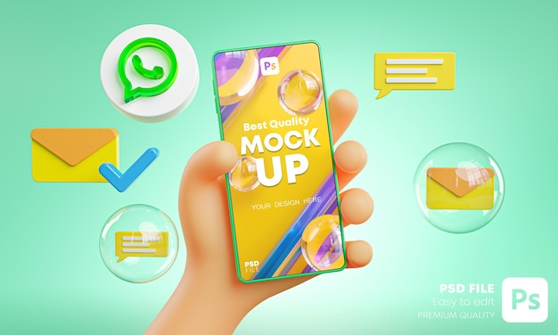 Mão fofa segurando ícones de whatapp no telefone em torno do modelo de renderização 3d Psd Premium