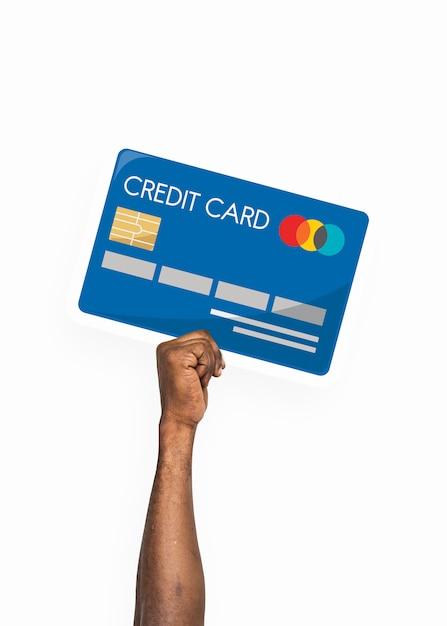 Mão segurando o clipart de cartão de crédito Psd Premium