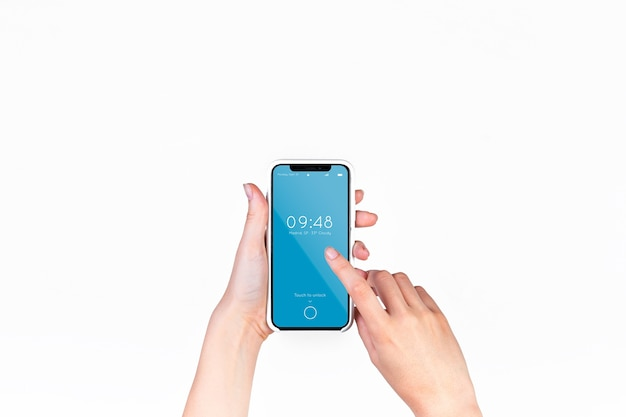 Mão, segurando, smartphone, mockup Psd grátis