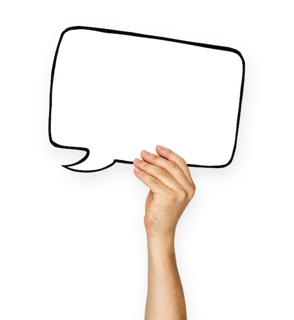 Mão segure em branco espaço de cópia de bolha de discurso Psd Premium