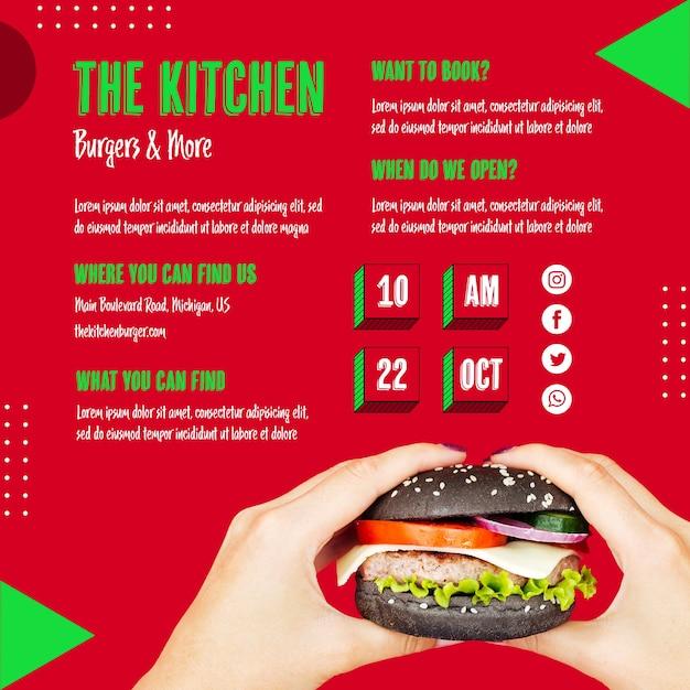 Mãos segurando um menu de cozinha de hambúrguer Psd grátis