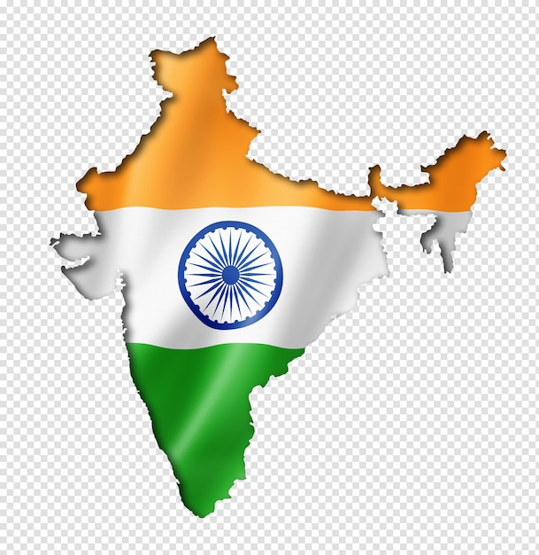 Mapa da bandeira da índia em renderização tridimensional isolado Psd Premium