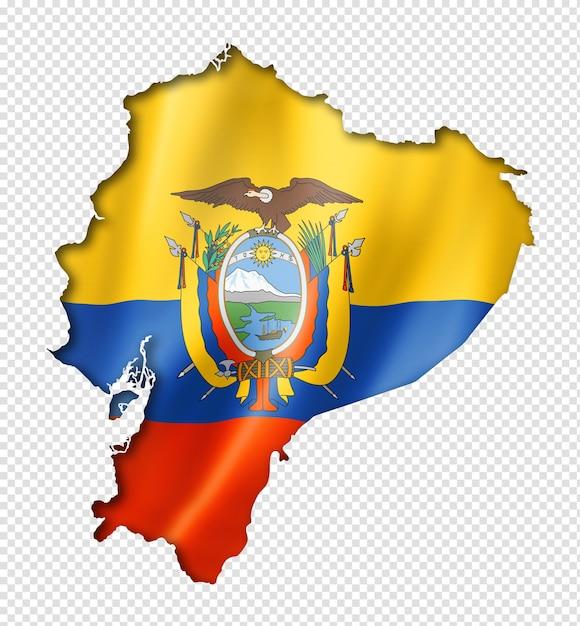 Mapa da bandeira do equador, renderização tridimensional, isolado no branco Psd Premium