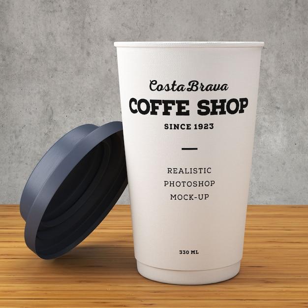 Maqueta de café em papel Psd grátis