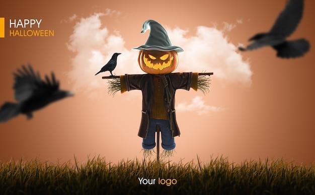 Maquete 3d de abóbora espantalho de halloween Psd Premium
