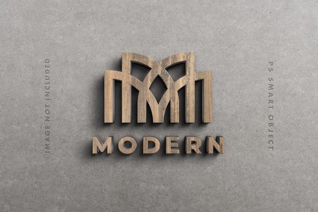 Maquete 3d de logotipo em madeira Psd Premium